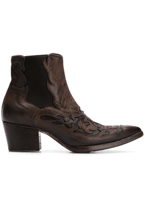 Alberto Fasciani embroidered cowboy boots - Brown