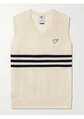 ADIDAS CONSORTIUM - Human Made Logo-Embroidered Striped Cotton Sweater Vest - Men - Neutrals - XS
