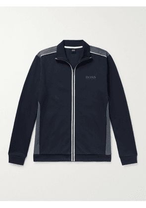 HUGO BOSS - Slim-Fit Piped Logo-Print Cotton-Blend Jersey Track Jacket - Men - Blue - S