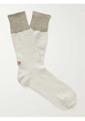 ANONYMOUS ISM - Mayo Birdseye Mélange Recycled Cotton-Blend Socks - Men - Neutrals
