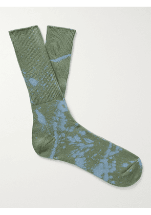 ANONYMOUS ISM - Bleached Cotton-Blend Socks - Men - Green