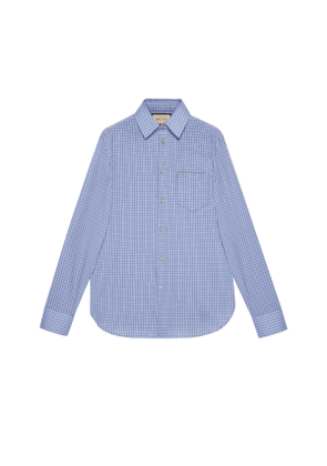Mini check cotton tailored shirt with GG