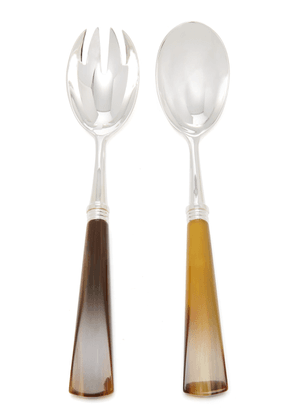 Alain Saint-Joanis - Tonia Silver-Plated Horn Salad Set - Color: Brown - Material: Silver and horn - Moda Operandi
