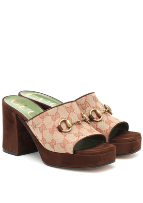 GG canvas and suede sandals