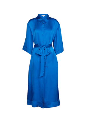 Satin midi shirt dress