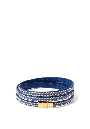 Dolce & Gabbana - Braided Leather Wrap Bracelet - Mens - Blue