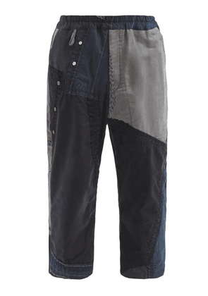 By Walid - Marek Patchwork Vintage-cotton Cropped Trousers - Mens - Black