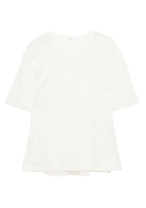 Clu Broderie Anglaise-paneled Two-tone Cotton-jersey T-shirt Woman White Size XS