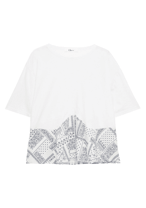 Clu Printed Cotton-poplin And Jersey Top Woman White Size S