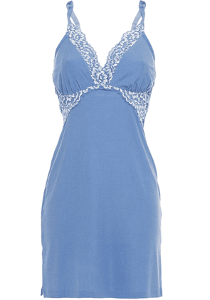 Cosabella Lace-trimmed Modal-blend Stretch-jersey Chemise Woman Light blue Size S