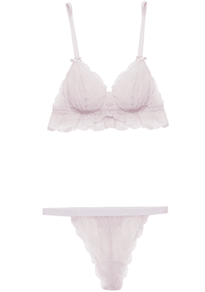 Cosabella Stretch-lace Bralette And Mid-rise Thong Woman Lilac Size M