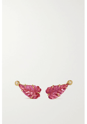 Brooke Gregson - Maya Leaf 18-karat Gold, Diamond And Tourmaline Earrings