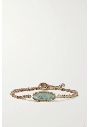 Brooke Gregson - Icicle 18-karat Gold, Silk And Aquamarine Bracelet