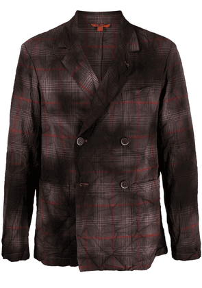 Barena faded plaid double-breasted blazer - Brown