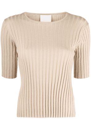 Allude ribbed-knit cotton-silk blend top - Neutrals