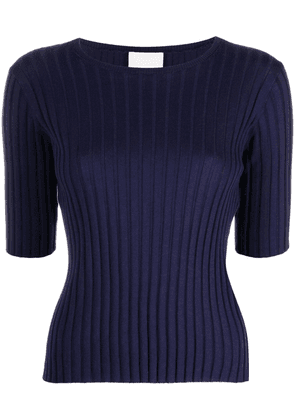 Allude ribbed-knit cotton-silk blend top - Blue