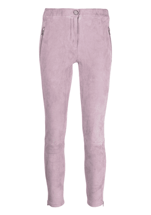 Arma cropped suede skinny trousers - Pink