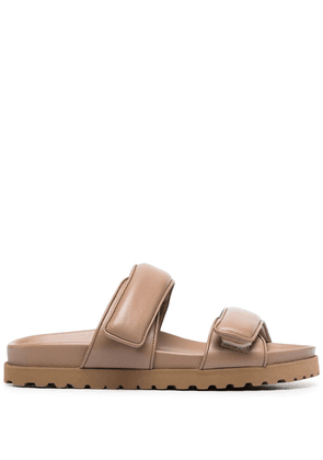 Gia Couture double-strap slides - Brown