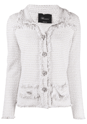 Blumarine decorative-button tweed jacket - White