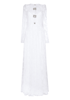 Christopher Kane crystal-embellished lace gown - White