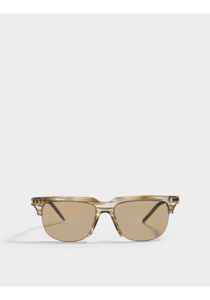 Saint Laurent Square Shaped Sunglasses in Havana Brown