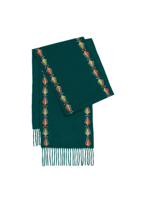 Kannava - Hand Embroidered By Refugees Cashmere Scarf - Pine Tree Motif