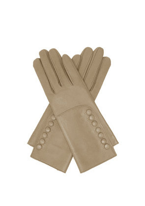 Agnelle - Rachelle Buttoned Leather Gloves - Womens - Beige