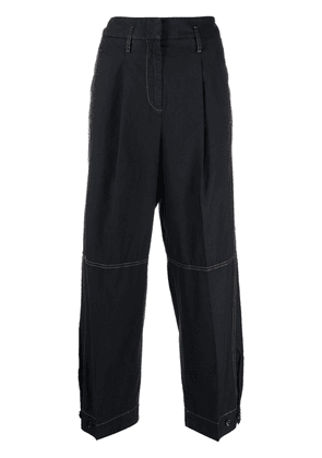 Brag-wette high-rise cropped trousers - Blue