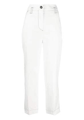 Brag-wette high-rise cropped trousers - White