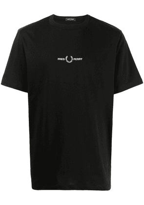 FRED PERRY embroidered logo T-shirt - Black