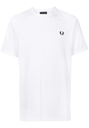 FRED PERRY Ringer embroidered logo T-shirt - White