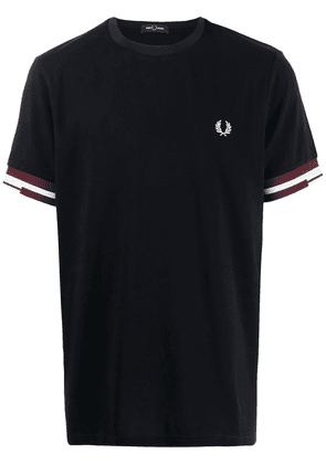 FRED PERRY abstract cuff T-shirt - Blue