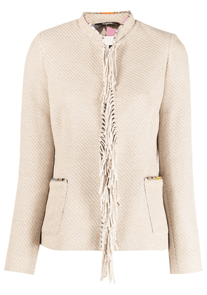 Bazar Deluxe fringe-detail fitted jacket - Neutrals