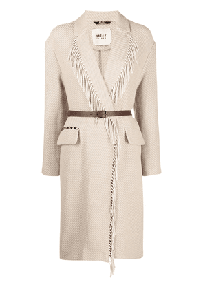 Bazar Deluxe fringe-detail knitted coat - Neutrals