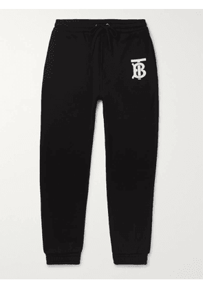 BURBERRY - Tapered Logo-Print Loopback Cotton-Jersey Sweatpants - Men - Black - S