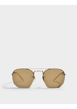 Saint Laurent Round Shaped Sunglasses in Gold