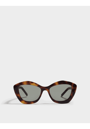 Saint Laurent Cat Eye Shaped Sunglasses in Havana Brown