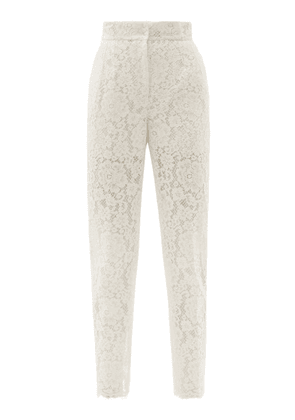 Dolce & Gabbana - High-rise Cotton-blend Cordonetto-lace Trousers - Womens - White