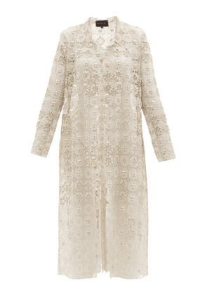 Biyan - Resendea Beaded Macramé-lace Coat - Womens - Ivory