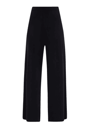 Allude - High-rise Wool Wide-leg Trousers - Womens - Black