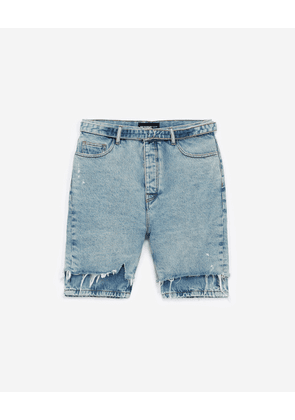 The Kooples - Faded blue denim shorts with raw edges - MEN