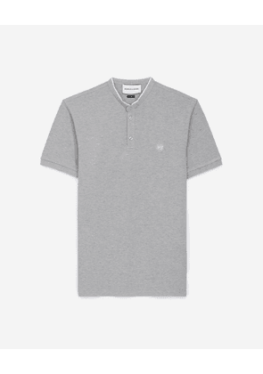 The Kooples - Grey officer-collar polo w/white details - MEN