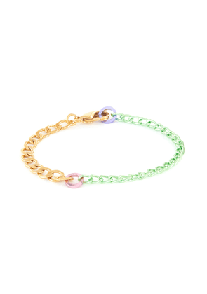 'Disco' 18k gold plated and coloured link chain bracelet