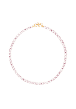 Hearts clasp 18K gold plated pink link chain necklace