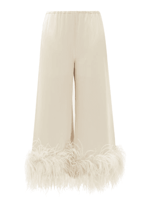 16arlington - Mandrake Cropped Feather-trimmed Satin Trousers - Womens - Beige