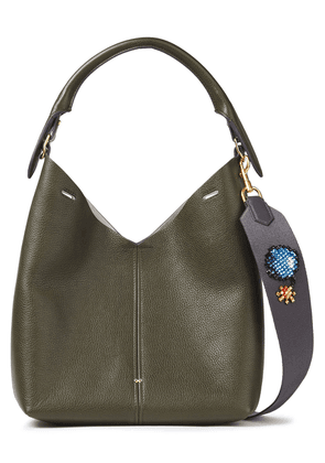 Anya Hindmarch Embellished Pebbled-leather Shoulder Bag Woman Army green Size --