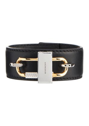 Lock leather bracelet