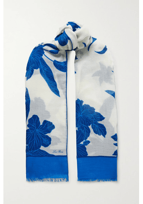 Loro Piana - Frayed Floral-print Cashmere And Silk-blend Scarf - Ivory