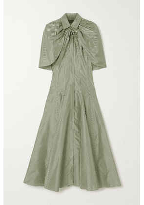 Brandon Maxwell - Cape-effect Gingham Silk-shantung Midi Dress - Green
