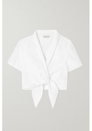 Alaïa - Cropped Tie-front Broderie Anglaise Cotton Top - White